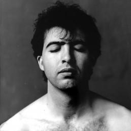 Kamran Ashtary, 1989, self portrait with eyes closed