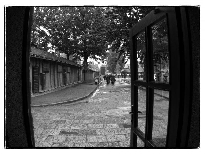 Black and white photo: Auschwitz